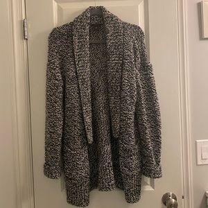 Black and white chunky knit cozy sweater